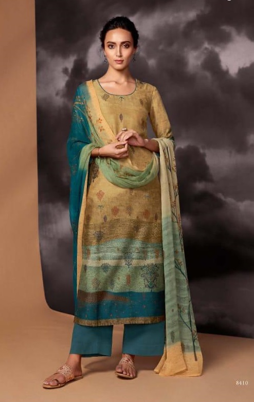Ganga Presents Dream Pure Kasuri Silk Printed With handwork and Swarovski Work Salwar Suit 8410