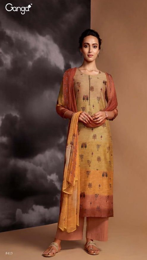 Ganga Presents Dream Pure Kasuri Silk Printed With handwork and Swarovski Work Salwar Suit 8413
