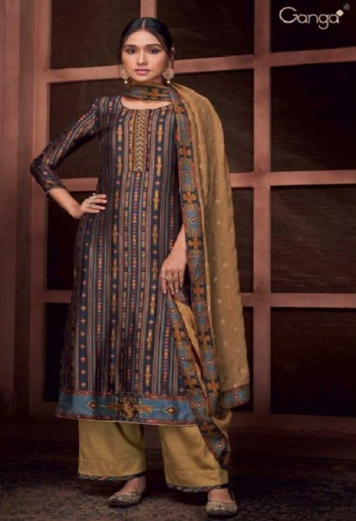 Ganga Presents Roots Pure Bemberg Russian Silk Printed With Embroidery and Handwork Salwar Suit 8432