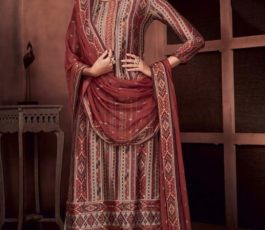 Ganga Presents Roots Pure Bemberg Russian Silk Printed With Embroidery and Handwork Salwar Suit 8433