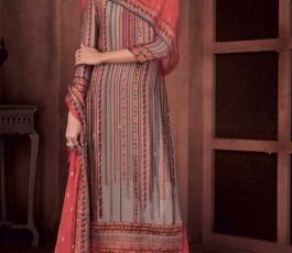 Ganga Presents Roots Pure Bemberg Russian Silk Printed With Embroidery and Handwork Salwar Suit 8435
