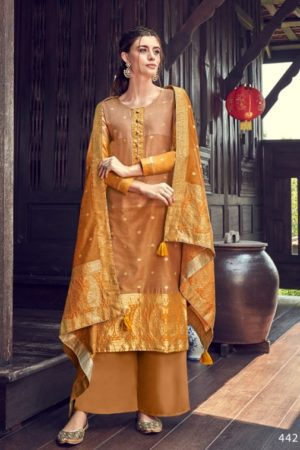 Ibiza Presents Tangail Pure Banarsi Tangail Ombire Weave With Siroski Salwar Suits 442