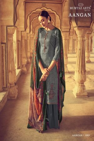 Mumtaz Arts Presents Aangan Pure Jam Satin Karachi Salwar Suits 1003