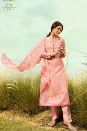 Omtex Presents Muse Lawn Cotton Digital Print With Cross Stitch Embroidery and Handwork Salwar Suit 861