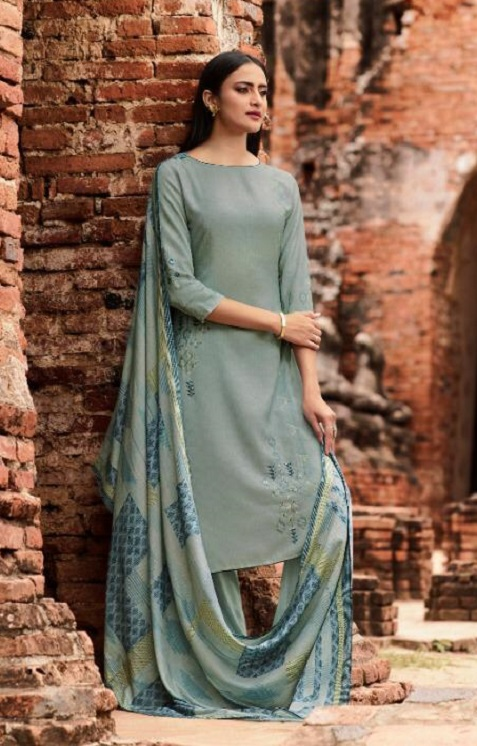 Omtex Presents Parinaaz Lawn Cotton Digital Print With Cross Stitch Embroidery and Handwork Salwar Suit 915