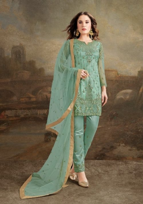 Rama Fashions Presents Raazi Taj 2 Super Net With Work Designer Partywear Suit 30026