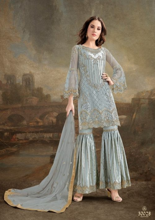 Rama Fashions Presents Raazi Taj 2 Super Net With Work Designer Partywear Suit 30028