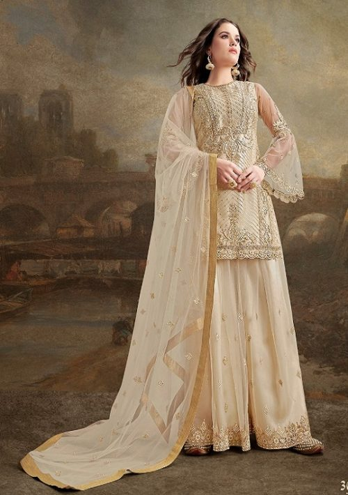 Rama Fashions Presents Raazi Taj 2 Super Net With Work Designer Partywear Suit 30030