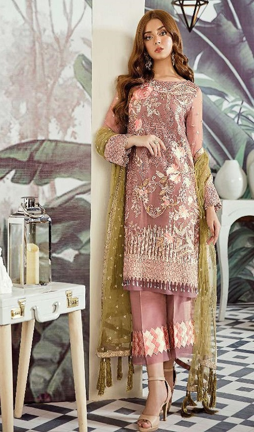Rinaz Fashion Presents Afrozeh Foux Georgette With Embroidery and Diamond Work Salwar Suit 1804