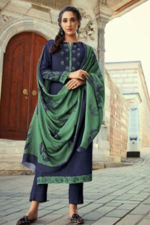 Sahiba Itrana Leaves Cotton Satin Dobby Digital Print With Embroidery Salwar Suit 105
