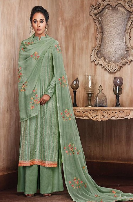 Sajjan Relssa Presents Pure Munga Silk With Fancy Embroidery Jariwork Salwar Suit 31006