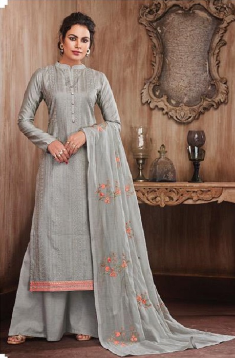 Sajjan Relssa Presents Pure Munga Silk With Fancy Embroidery Jariwork Salwar Suits 31002