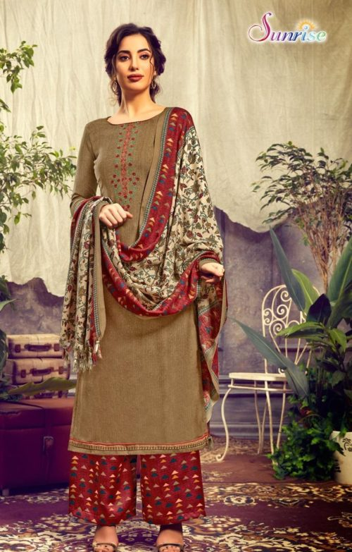 Sunrise Creation Presents Sweat Pure Pashmina With Embroidery Unstitched Winter Salwar Suit 1001