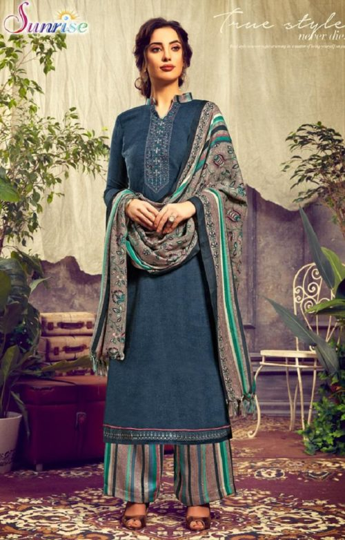Sunrise Creation Presents Sweat Pure Pashmina With Embroidery Unstitched Winter Salwar Suit 1003