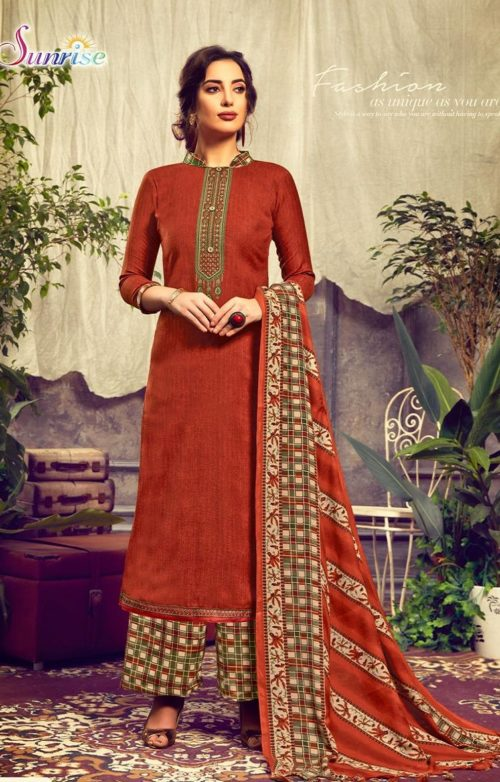 Sunrise Creation Presents Sweat Pure Pashmina With Embroidery Unstitched Winter Salwar Suit 1004