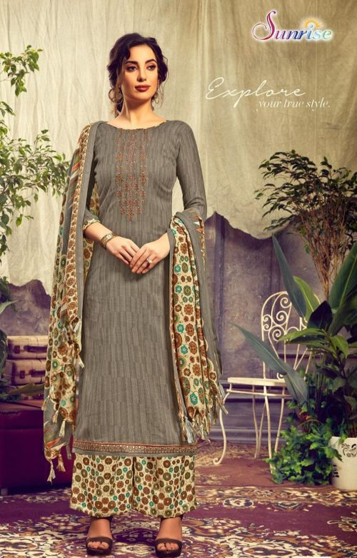 Sunrise Creation Presents Sweat Pure Pashmina With Embroidery Unstitched Winter Salwar Suit 1005