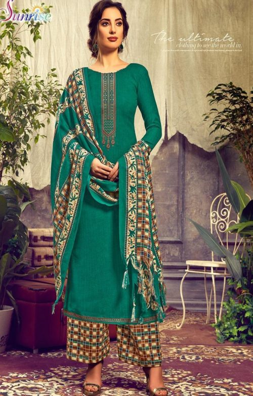 Sunrise Creation Presents Sweat Pure Pashmina With Embroidery Unstitched Winter Salwar Suit 1006