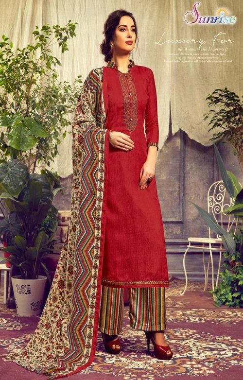 Sunrise Creation Presents Sweat Pure Pashmina With Embroidery Unstitched Winter Salwar Suit 1007
