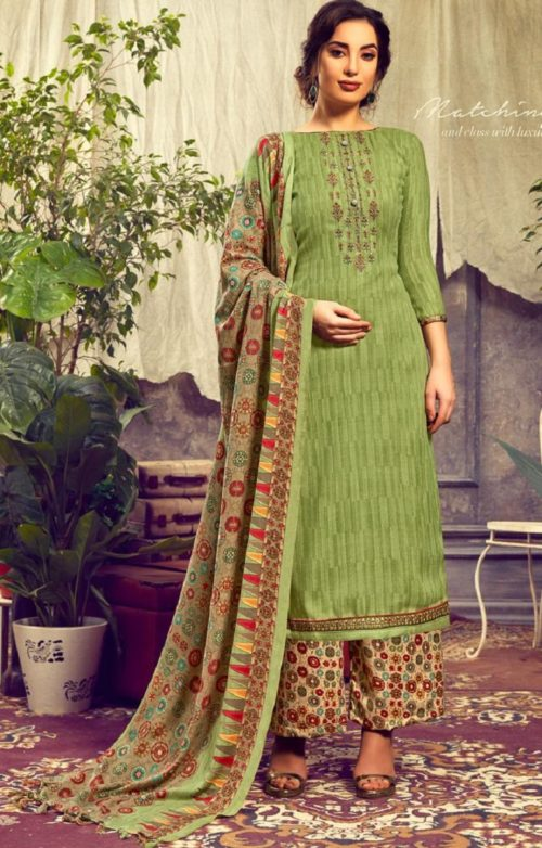 Sunrise Creation Presents Sweat Pure Pashmina With Embroidery Unstitched Winter Salwar Suit 1008
