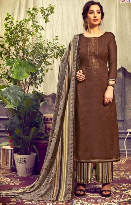 Sunrise Creation Presents Sweat Pure Pashmina With Embroidery Unstitched Winter Salwar Suit 1009
