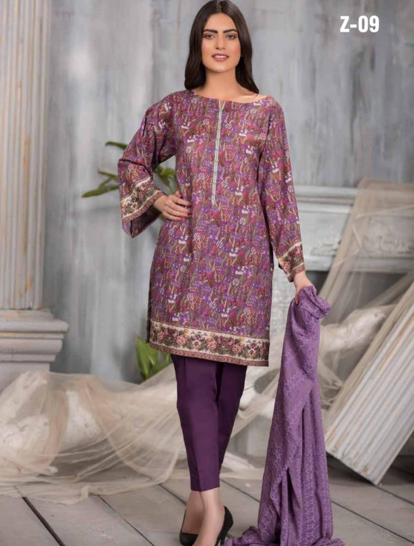 Zebaish Presents Amor Digital Printed Pure Lawn Shirt Original Pakistani Salwar Suits Z-09