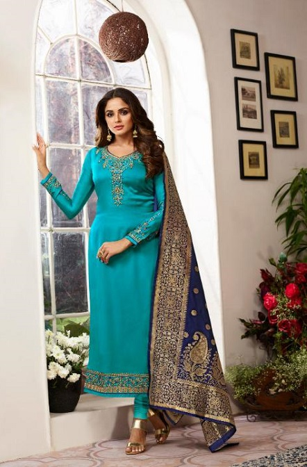 Zisa Presents Vol 6 Georgette With Heavy Embroidery with Banarsi Designer Partywear Suit 11184