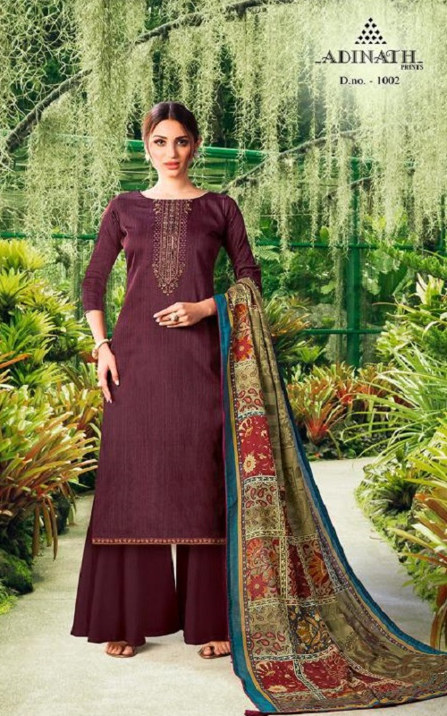 Adinath Prints Presents Sehar Jam Cotton Negative Print With Embroidery Salwar Suit 1002