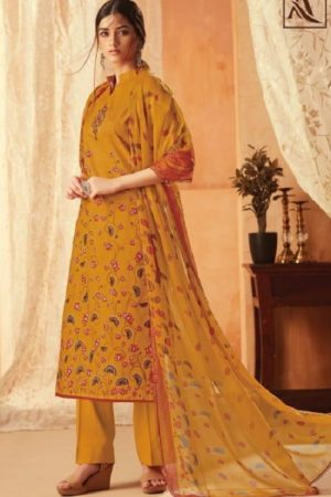 Alok Suit Aasfa Pure Cambric Cotton Digital Style Print With Work Salwar suit 002