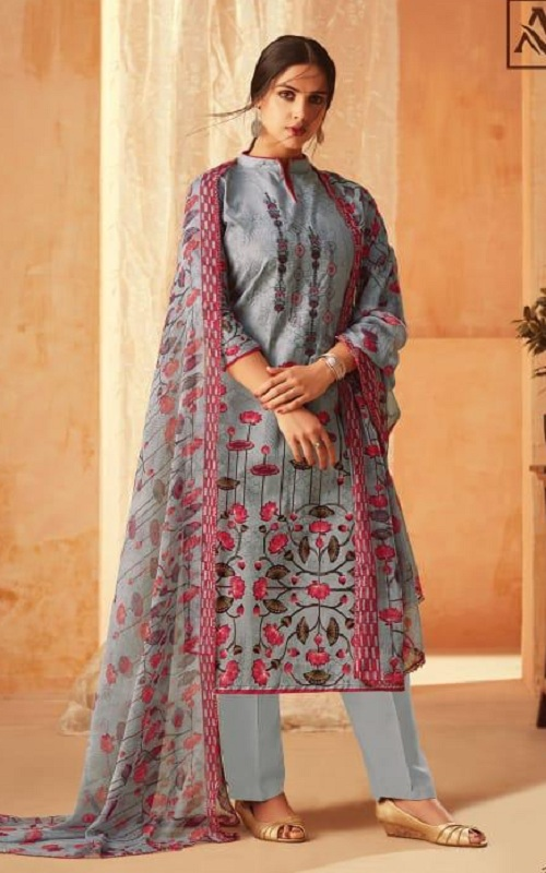 Alok Suit Aasfa Pure Cambric Cotton Digital Style Print With Work Salwar suit 005