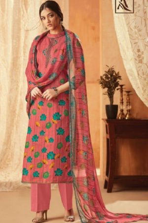 Alok Suit Aasfa Pure Cambric Cotton Digital Style Print With Work Salwar suit 006