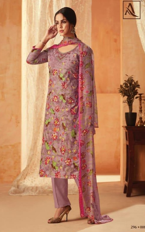 Alok Suit Aasfa Pure Cambric Cotton Digital Style Print With Work Salwar suit 008