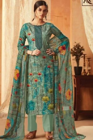 Alok Suit Aasfa Pure Cambric Cotton Digital Style Print With Work Salwar suit 009