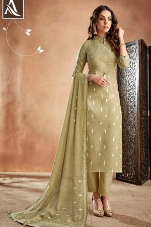 Alok Suit Presents Bloom Pure Cambric Discharge Khaadi Print With Handwork Salwar Suit 388-002