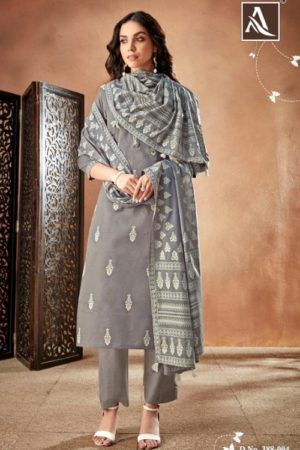 Alok Suit Presents Bloom Pure Cambric Discharge Khaadi Print With Handwork Salwar Suit 388-004
