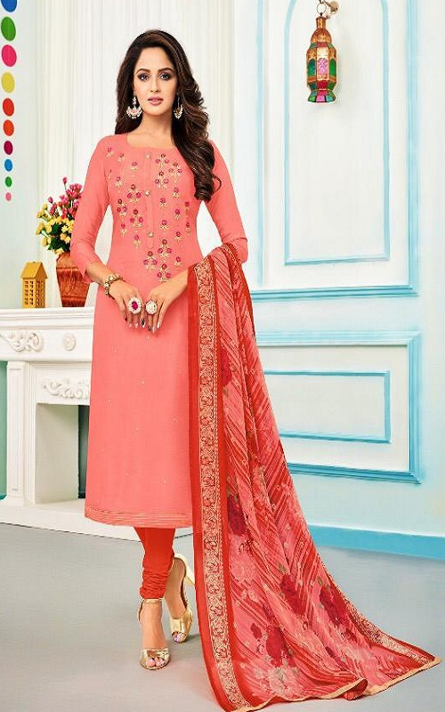 Angroop Plus Diary Milk 30 Chanderi Cotton Masleen Silk With Embroidery Salwar suit 6003