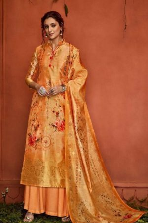 Belliza Designer Studio Presents Nayaab Pure Upada Silk Banarsi Jacquard Digital Printed Salwar Suit 356-002