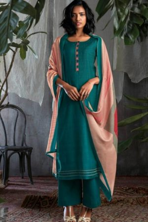 Buy Ganga Gisette Pure Bemberg Silk Printed With Embroidery Salwar Suits c0059