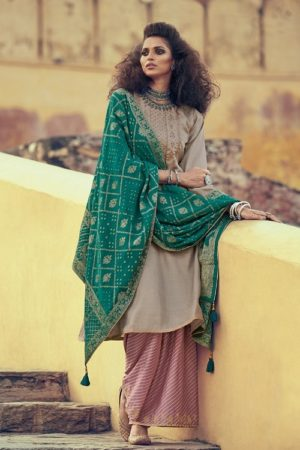 Buy Varsha Fashions Lehariya Tussar Silk With Embroidery Salwar Suit LH-01