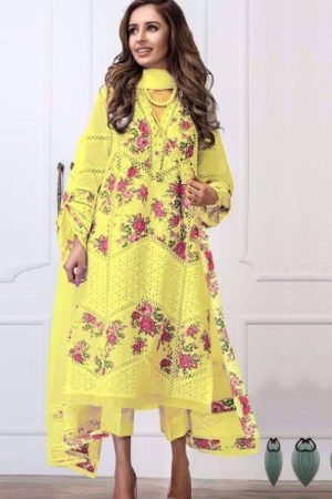 Charizma Designer Yellow White Colour Edition Cambric Cotton With Embroidery & Fancy Boring Work Salwar suit 2001