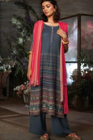 Ganga Azen c Finest Cotton Satin Printed With Wxtra Sleeves & Embroidery & Button Work Salwar Suit 8139