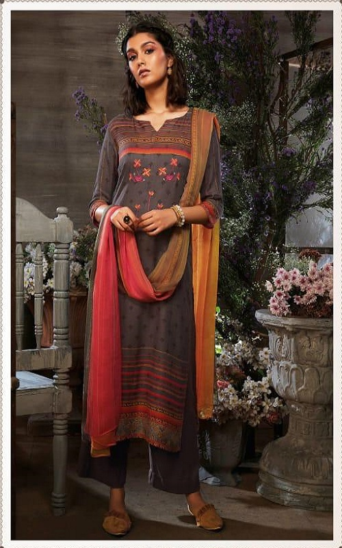Ganga Azen c Finest Cotton Satin Printed With Wxtra Sleeves & Embroidery & Button Work Salwar Suit 8142