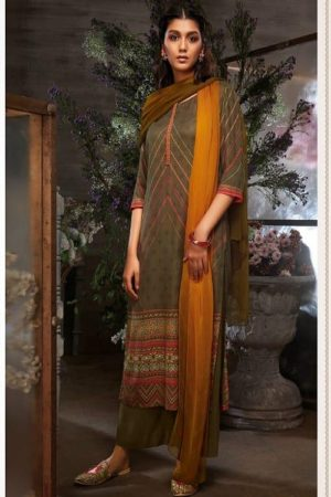 Ganga Azen c Finest Cotton Satin Printed With Wxtra Sleeves & Embroidery & Button Work Salwar Suits 8141