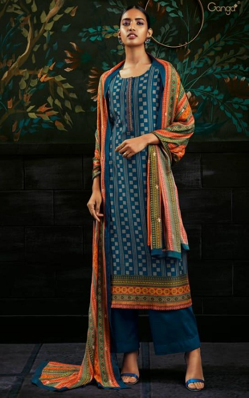 Ganga Chloris Pure Kasuri Silk Printed With Extra Sleeves and Embroidery Salwar Suit C0119