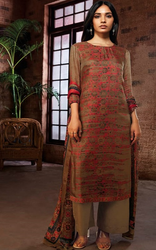 Ganga Fashion Presents Zyanya Pure Habutai Silk Printed Salwar Suit C0035