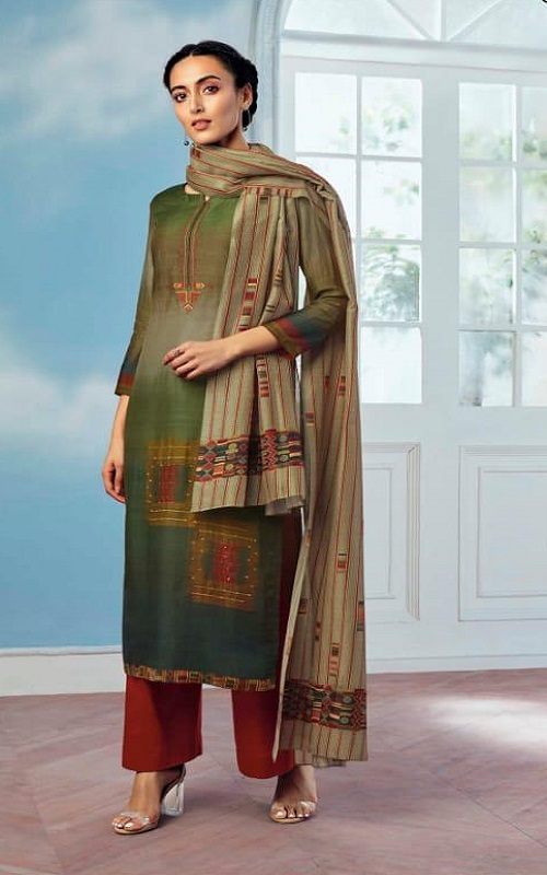 Ganga Wing of a Cloud Pure Bemberg Silk Printed With Extra Sleeves And Embroidery Work Salwar Suit coo53