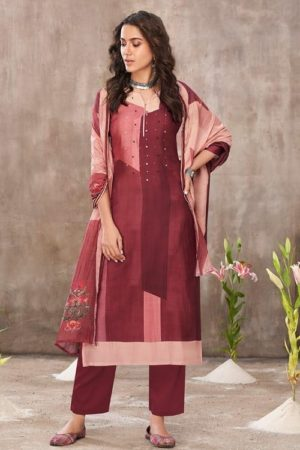 Jayvijay Amorous Florel Pure Bemberg Moga Silk Digital Print With Handwork Salwar Suit 5023