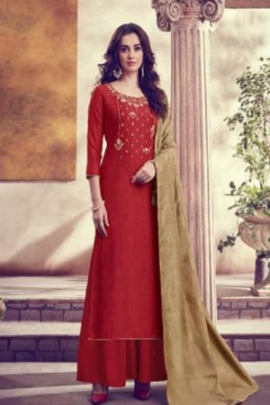 Karva Designer Studio Presents Amber Soft Silk Embroidered Salwar Suits 22001