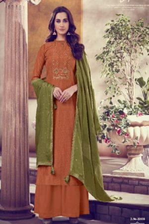 Karva Designer Studio Presents Amber Solf Silk Embroidered Salwar Suit 22006