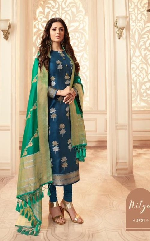 LT Fabcics Presents Nitya 157 Silk Jacquard Partywear Churidar Suit 5701