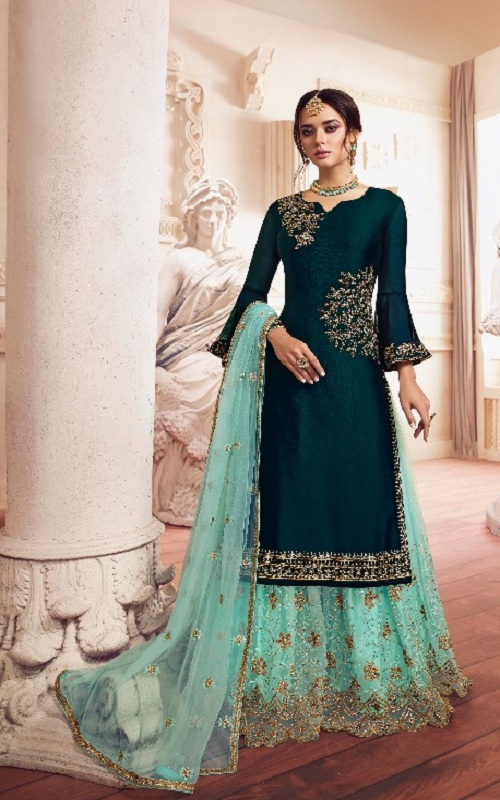 LT Fabrics Presents Vol 149 Designer Partywear Sharara Suit 4908